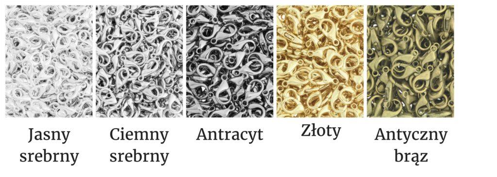 karabińczyki do biżuterii kolory