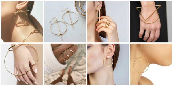 Złota biżuteria geometryczna
