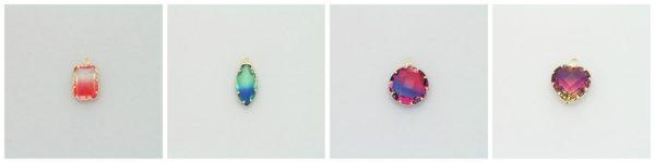 Cieniowane koraliki szklane GEMS w okuciu