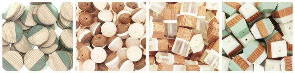 Koraliki do biżuterii drewno z żywicą