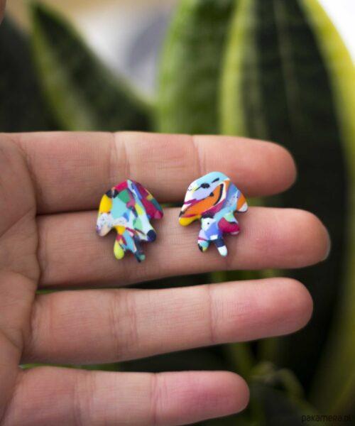 Kolorowe kolczyki łapki z modeliny