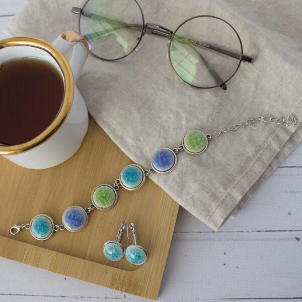 Komplet biżuterii z ceramicznymi kaboszonami