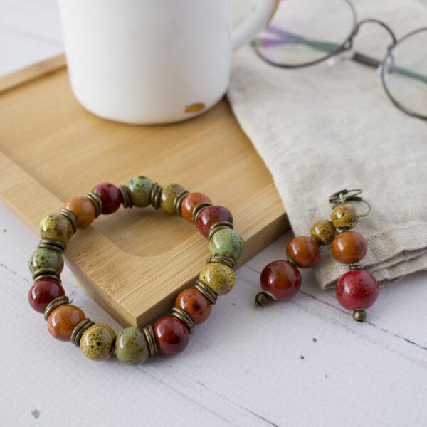 Jesienna ceramika komplet biżuterii dla babci