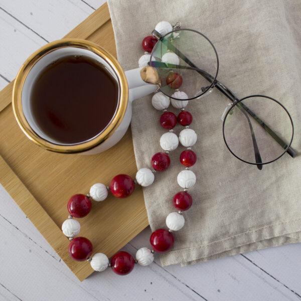 Naszyjnik z korala i muszli handmade dla babci