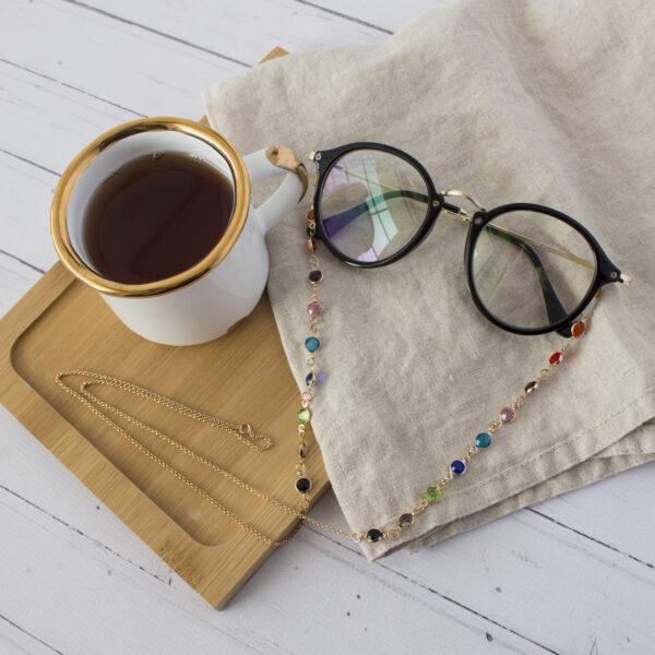 Łańcuszek do okularów z kryształkami