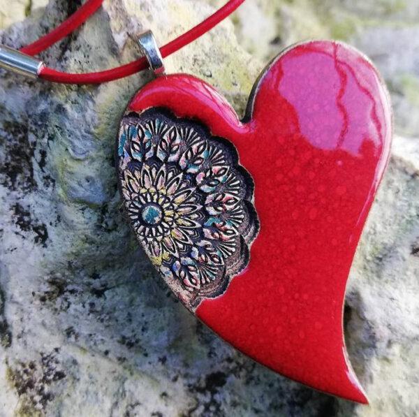 Naszyjnik handmade serce z ceramiki