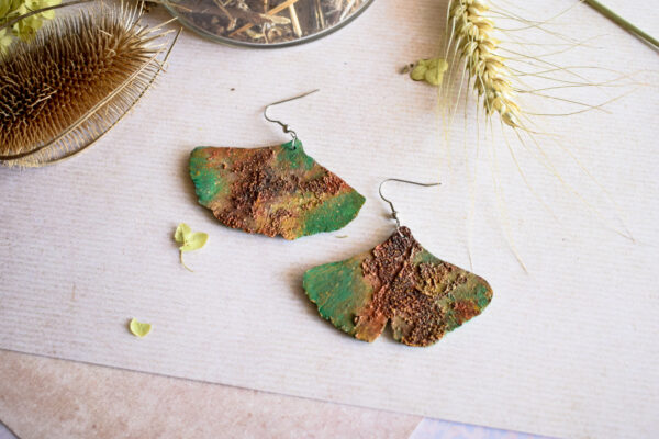 """""""Zardzewiałe"""" liście Miłorzębu handmade Sirius Jewelry"""
