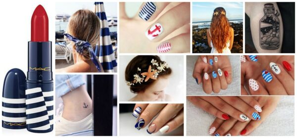 Styl marynarski - tatuaże, manicure, makijaż, upięcia włosów
