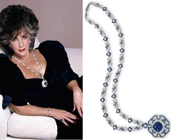 Biżuteria Elizabeth Taylor - naszyjnik z szafirami