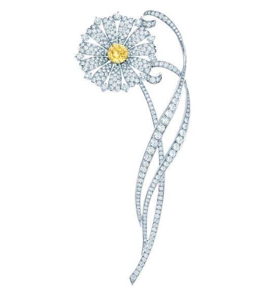 Broszka Daisy- białe diamenty, żółty diament, platyna