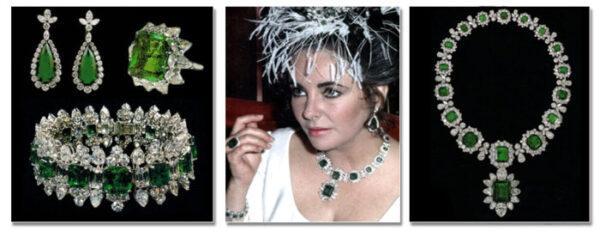 Komplet biżuterii ze szmaragdami