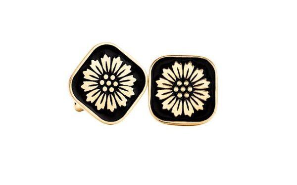 Spinki do mankietów- złoto, czarna emalia