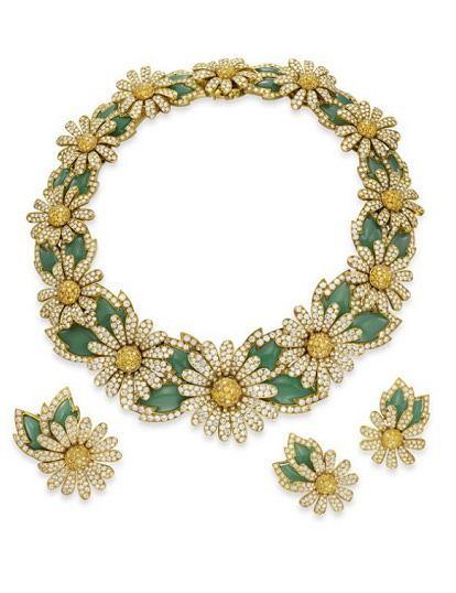 Komplet biżuterii ze stokrotkami
