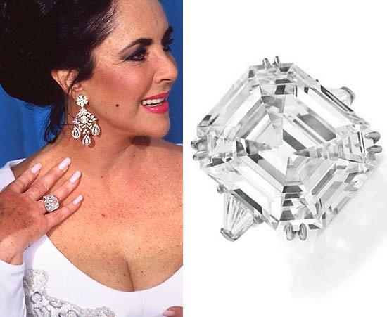 Pierścionek z diamentem - biżuteria Elizabeth Taylor