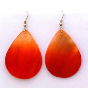 Kolczyki w kształcie łezki, z masy perłowej, kolor pomarańczowy