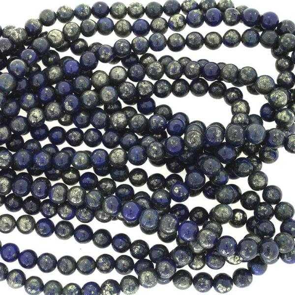 Koraliki z Lapis Lazuli z pirytem