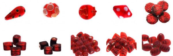 Koraliki szklane czerwone