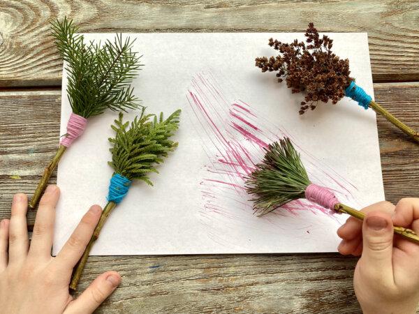 Kreatywne zabawy dla Dzieci pędzle z gałązek i liści
