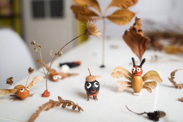 Jesienne figurki z liści i ciastoliny